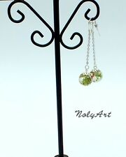 ball silver earrings ear drops jewellery Handmade nature dry moss and flower