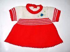 Vintage Doll Sweater Knit Dress Flower Applique So Cute