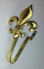 Fleur De Lis Gold Tone Curtain Tie Holder Window Treatment Hardware Wall Mount