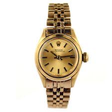 ROLEX 1967 OYSTER PERPETUAL 6618 GOLD DIAL LADIES WATCH+18K Y.G. CUSTOM BRACELET
