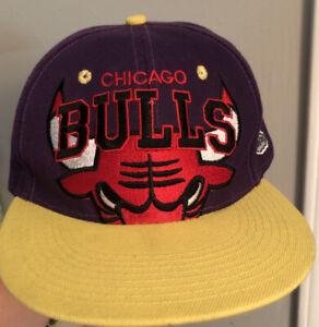 CHICAGO BULLS NEW ERA SNAPBACK HAT CAP Purple Yellow HARDWOOD CLASSICS Adjustabl