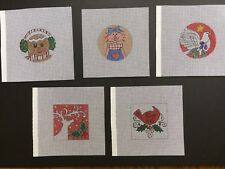 Set of 5 Hand-painted Needlepoint Canvases 4 Inch Round & Square Ornaments
