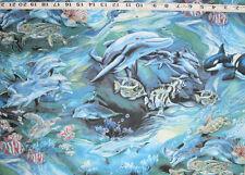 "C1222-04 R KAUFMAN ""North American Wildlife"" Ocean Fish & Animals by the Yard"