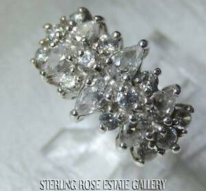 3 ROW CUBIC ZIRCONIA Sterling Silver .925 Estate WEDDING Cocktail RING size 8.25