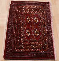LIVING ROOM DECOR TURKOMAN HAND KNOTTED RECTANGLE RED WOOL 30+ AREA RUG 2X3