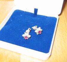 Rubine & Weißtopase ** Ohrstecker in Blütenform ** Rhodiniert **