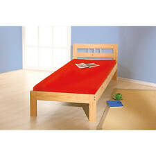 Lit une place 90x190 enfant adulte solide robuste bois pin massif vernis NATUREL