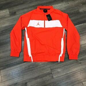 New Nike Jordan Team Woven Pullover Jacket Mens Large Orange CD2218-820