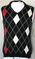 Liz Claiborne Sweater Vest Top Medium Liz Golf Black White Red Argyle NEW