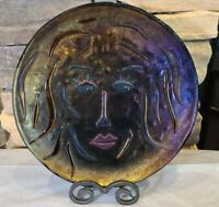 ART GLASS PLATE LARGE DICHROMIC IRIDESCENT FUSED SCULPTED CONTEMPORARY