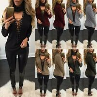 UK 8-24 Women Choker Lace-up Ribbed Knitted Jumper Casual Loose Tops Pullover