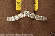 White Gold Channel 11 Diamond Solitaire Wrap Ring Enhancer Contour Chevron Band