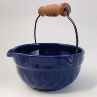 Tender Heart Treasures Blue Bowl Ceramic Textured Poor Spout Wood Handle 2001