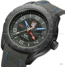 Luminox 5121.GN Men's SXC Space GMT Grey Cordura and Blue Genuine Leather