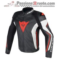 Giacca pelle Dainese Assen nero bianco rossofluo taglia 48 leather jacket