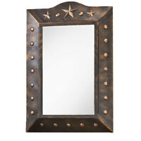Rustic Lone Star Western Mirror Metal Rim with Studs Copper Finish Wall Hanging