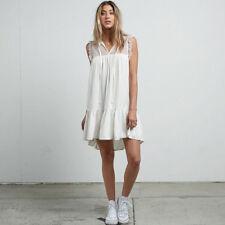 Volcom White Womens USA Size Large L Sheer Split Neck Shift Dress 570