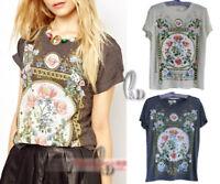 AU SELLER Ladies Casual Painting Vintage Floral Summer Top T-Shirt SZ S-XL T068