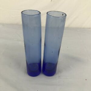 Set of 2 Blue Glass vase floating candle cylinders decor accent