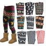Toddler Kids Girls Animal Printed Leggings Winter Warm Fleece Pants Trouser 2-8Y