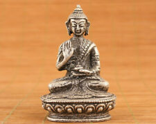 Chinese old white copper handmade buddha blessing statue figure table deco