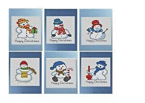 "Cross stitch Christmas Card Kit, 6 Snowmen cards, Pearlescent Cards 8"" x 6"" each"