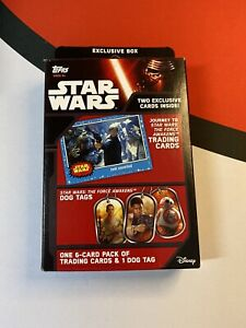 Star Wars The Force Awakens Exclusive Trading Card Box w/6 Cards & Dog Tag. New