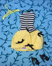 Genuine Barbie Doll Dress With Shoes Hanger Yellow Black Striped Clothes Outfit
