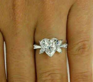 4 Ct Heart Marquise Cut Wedding Anniversary 925 Sterling Silver Ladies Fine Ring