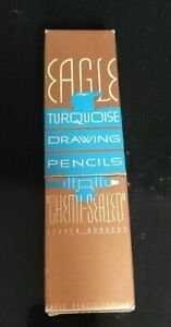 "Vintage EAGLE TURQUOISE ""HB"" Unused 12 Drawing Pencils in Box"