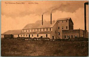 "ALVA, Oklahoma Postcard ""The Oklahoma Plaster Mill"" Factory Building View c1910s"