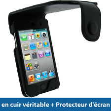 Noir Housse Cuir Véritable pour Apple iPod Touch 4G 4ème iTouch Etui Coque Case