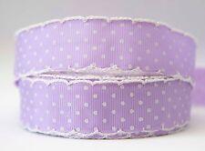 1m X 22mm Grosgrain Ribbon Craft DIY Cake Decorations Hair Bows - Crochet Edges
