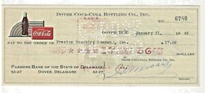 1949 Coke Coca Cola Bottling Company Check, Dover DE Delaware, Preston Trucking