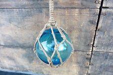 Glass Fishing Float with netting Tiffany Blue Beach House Nautical Decor