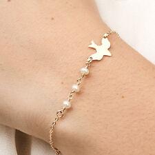 Fashion Women White Dove Pearl Bracelet Gold Silver Bird Wristband Jewelry New