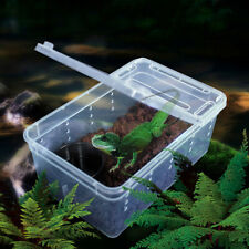 Transparent Plastic Amphibian Insect Reptile Breeding Box Feeding Case Us
