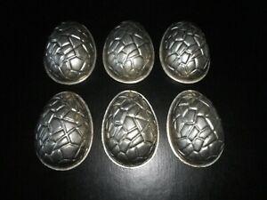 Vintage metal chocolate mould/mold - set of 6 half tortoiseshell egg molds