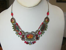 Ayala Bar Fire Dance Necklace, handmade in Israel, crystals beads & stones, NWOT