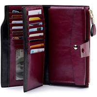 Women Genuine Leather Long RFID Blocking  Wallet Money Card Holder Clutch Purse