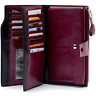 Women Genuine Leather Long RFID Blocking  Wallet Money Card Holder Clutch Purse