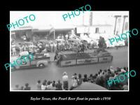 OLD LARGE HISTORIC PHOTO OF TAYLOR TEXAS, THE PEARL BEER PARADE FLOAT c1950