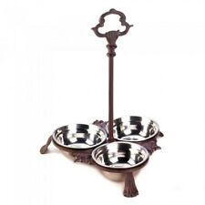 Pet Bowl Set Dog Cat Food and Water Bowls Dishes With Handle Rack