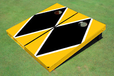 Black And Yellow Matching Diamond Custom Cornhole Board