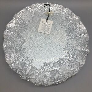 """x6 Akcam Turkish Glass Silver Snowflake Dinner Plate Set Frosted Christmas 11"""""""