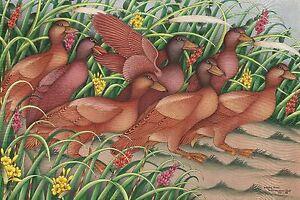 Hand painting Balinese Ducks Birds 311