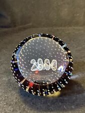 20 Year 2000 Millennium Caithness Controlled Bubble Amethyst Glass Paperweigt