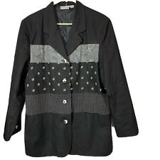 Newport News Womens Black Blazer With Patterns Size 12 Linen Blend Vintage 90's