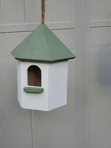 Birdhouse gazebo hand painted & treated hanging cute gift green/white