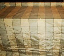 100% Natural Silk Taffeta Fabric Checks Plaid Yellow Banana Cream Yellow BTY